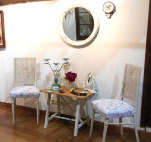 Vintage mesa sillas espejo redondo decape