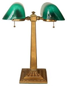 Emeralite #8734C Adjustable Double Desk Lamp de 1916