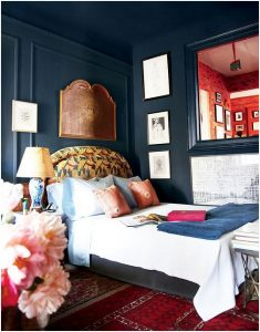 dormitorio pared azul
