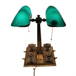 esmeralite pareja lámpara de despacho con 4 tinteros Sengbusch