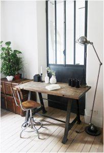 mesa tablones madera y patas forja hierro estilo industrial la josa shop
