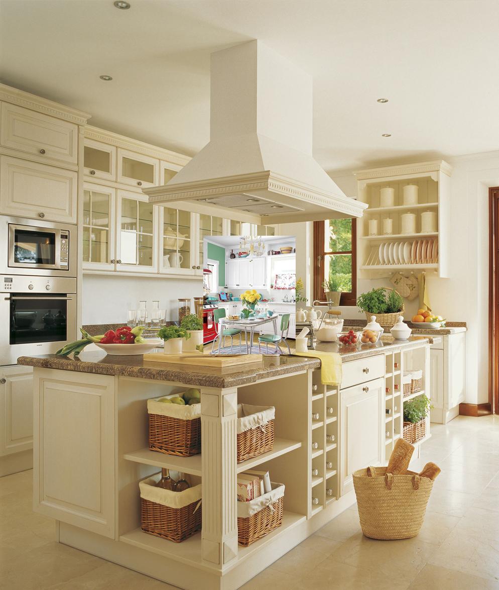 Ejemplos de decoraci n cocinas de color blanco estilo - Cocina rustica blanca ...