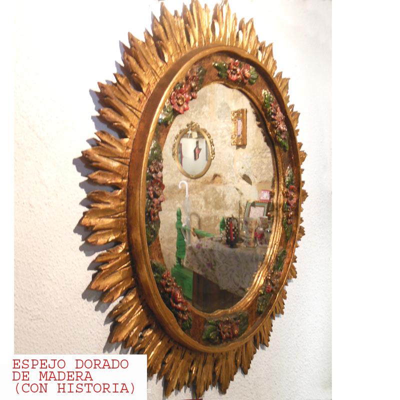 ESPEJO DORADO DE MADERA CON HISTORIA