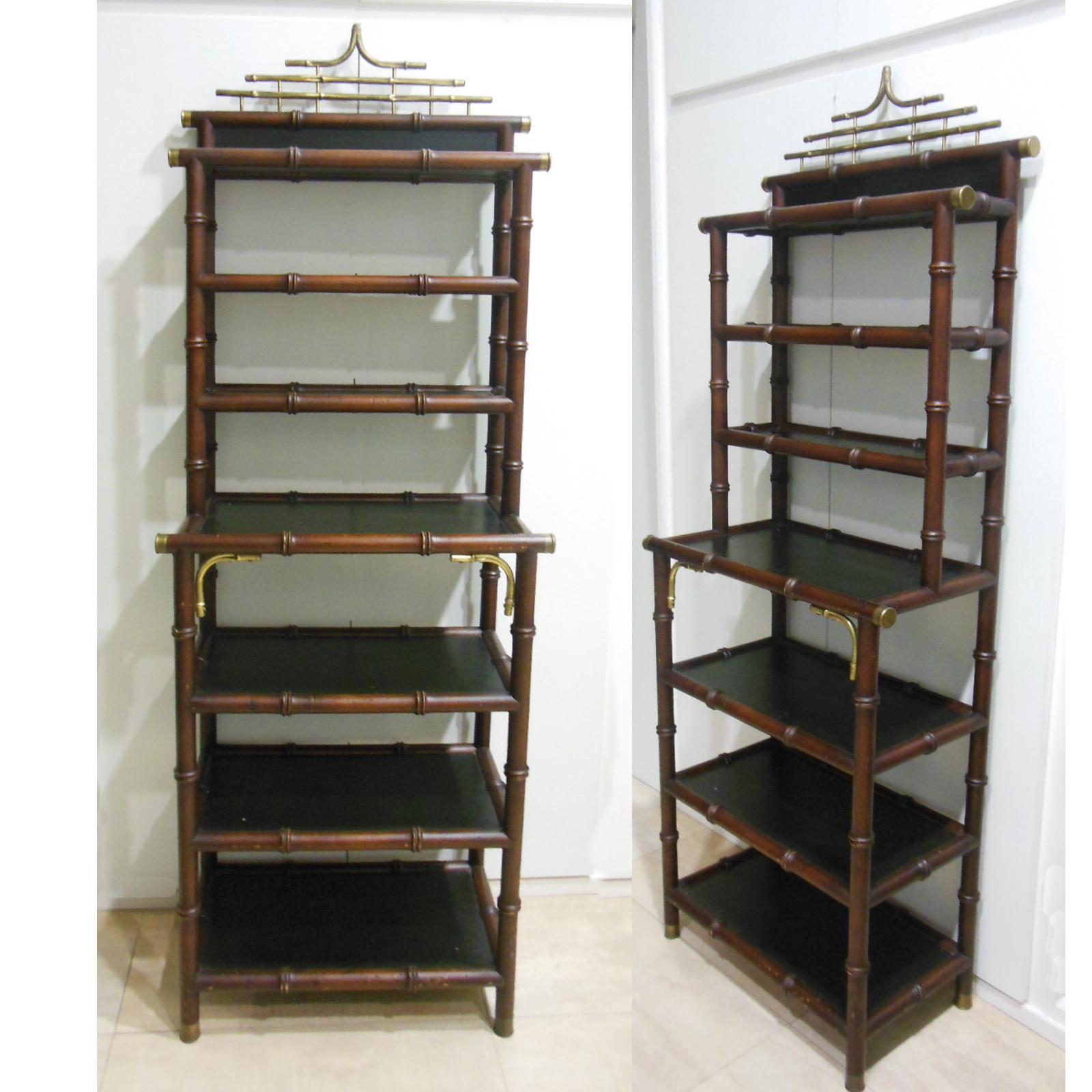 Estanteria de madera exotica estilo Maison Bagues bronce y falso bambu disponible en La Josa Shop