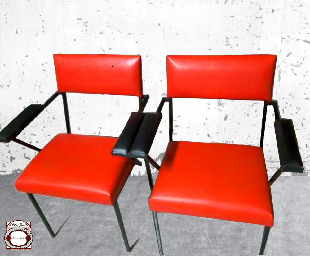 sillon silla roja y negra vintage siglo XX estilo De Stijl