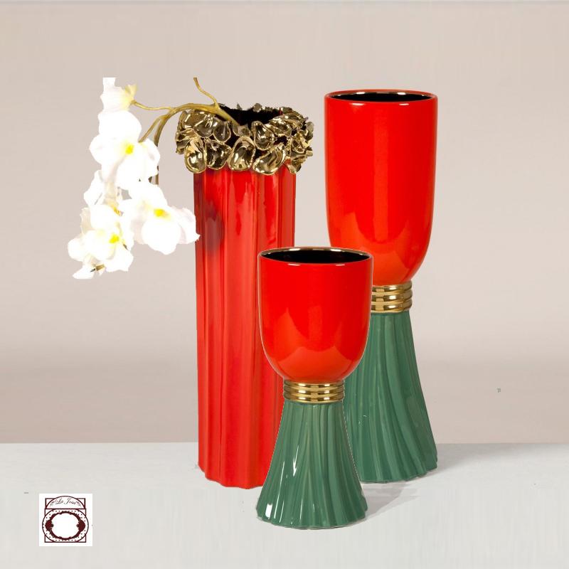 Set of 3 porcelain vases coral color, green and gold la josa shop