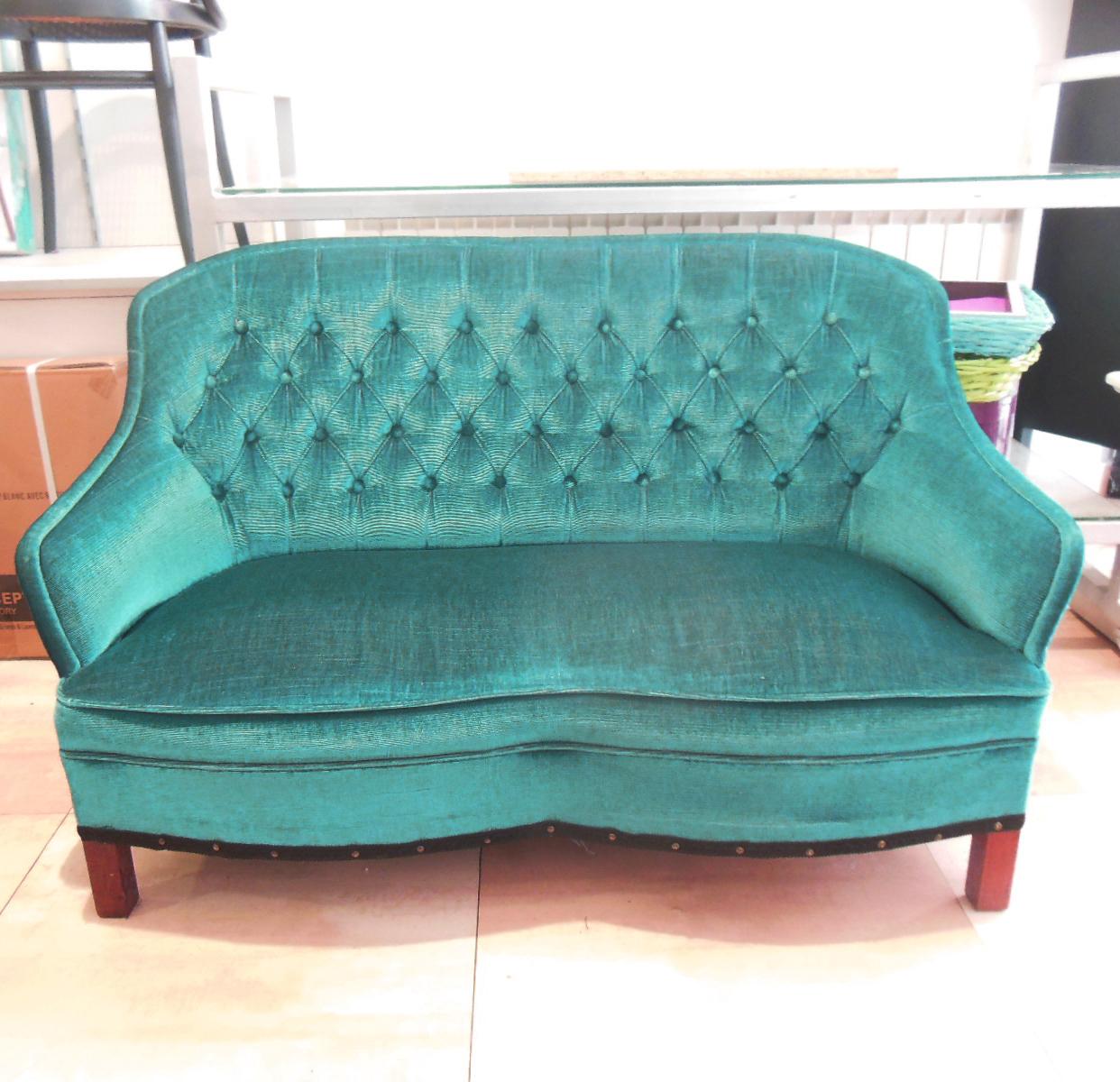 sillon vintage capitone verde azulado