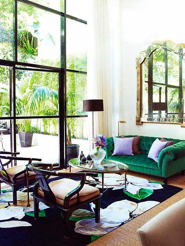 sofa verde capitone en la josa shop