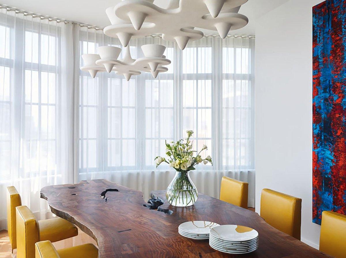 mesa rustica madera salon atico Chelsea NY