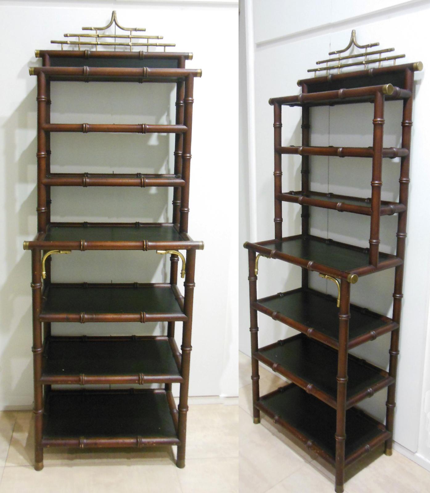 estanteria de madera exotica estilo oriental em nadera bronce imtando a bambu