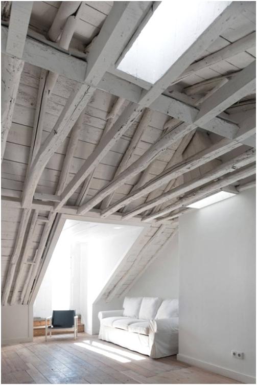 techo madera en color blanco