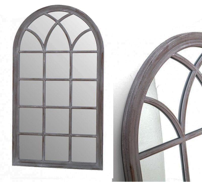 Espejo ventana gris  grande  de madera 140 cm de alto