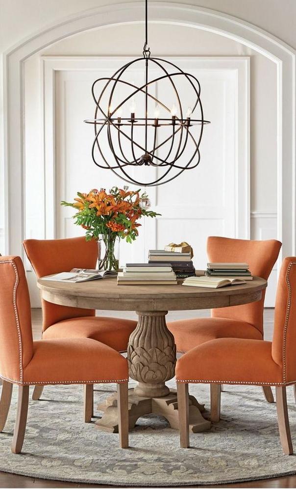 mesa redonda de salon o cocina con pata central